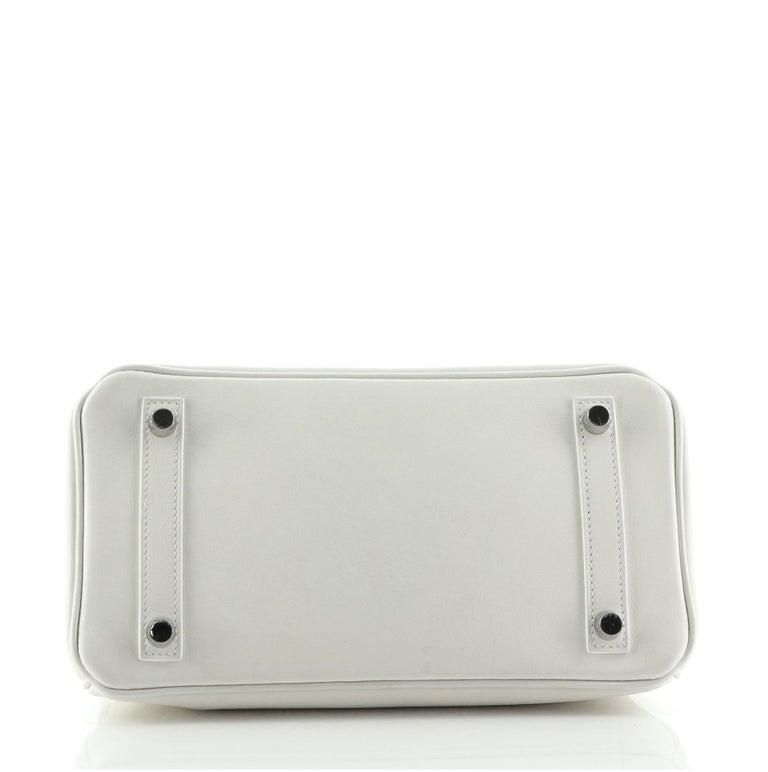 Women's or Men's Hermes Birkin Handbag Blanc Swift with Palladium Hardware 25 For Sale
