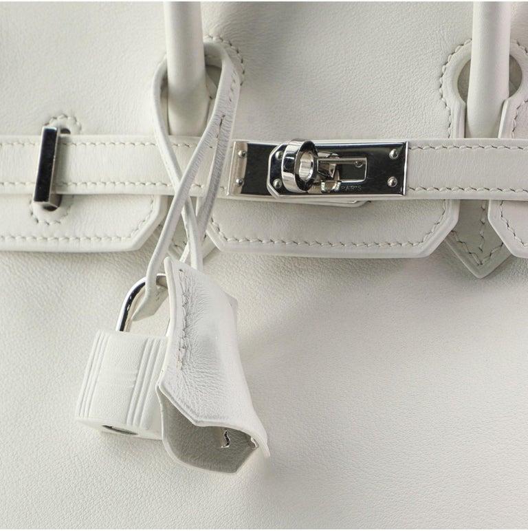 Hermes Birkin Handbag Blanc Swift with Palladium Hardware 25 For Sale 2