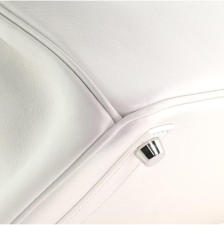 Hermes Birkin Handbag Blanc Swift with Palladium Hardware 25 For Sale 3