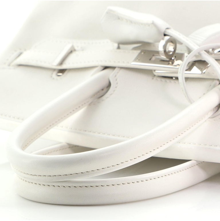 Hermes Birkin Handbag Blanc Swift with Palladium Hardware 25 For Sale 4