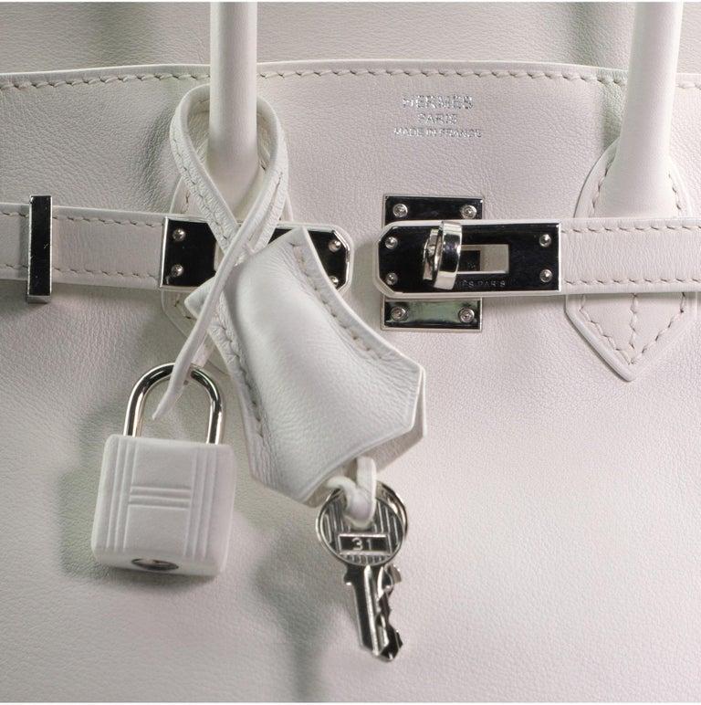 Hermes Birkin Handbag Blanc Swift with Palladium Hardware 25 For Sale 5