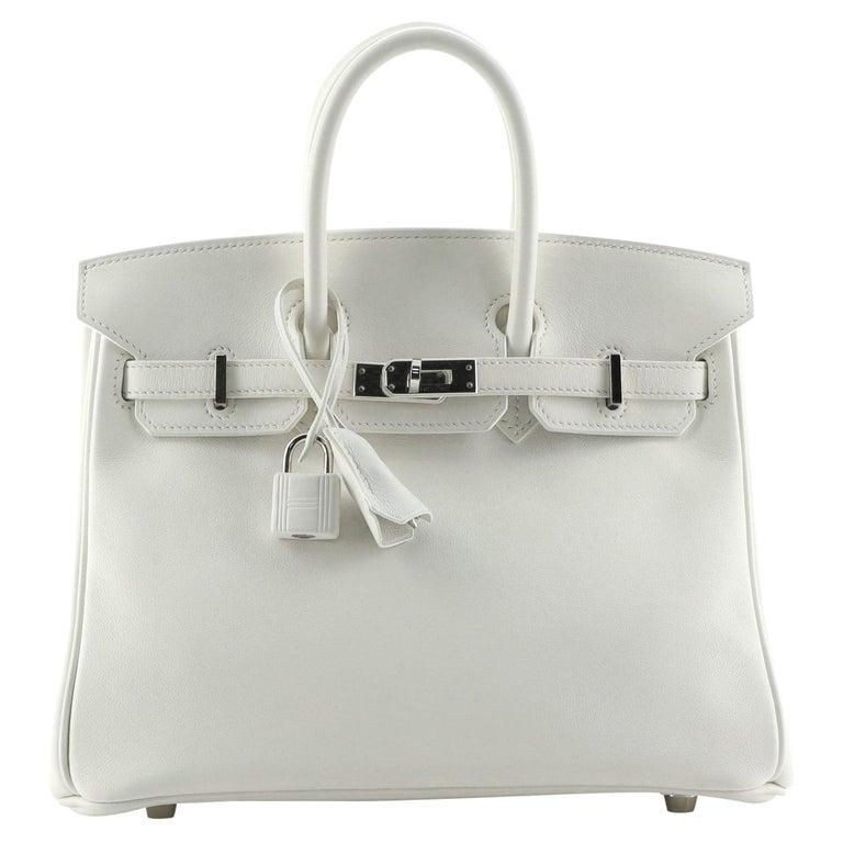Hermes Birkin Handbag Blanc Swift with Palladium Hardware 25 For Sale