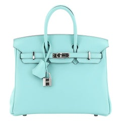 Hermes Birkin Handbag Bleu Atoll Swift with Palladium Hardware 25
