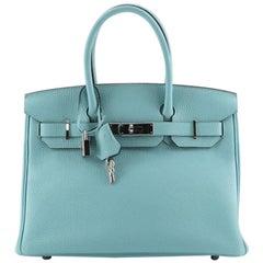 Hermes Birkin Handbag Bleu Atoll Togo with Palladium Hardware 30