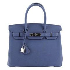 Hermes Birkin Handbag Bleu Brighton Togo with Palladium Hardware 30