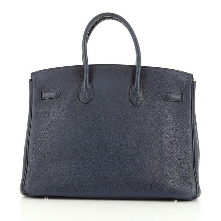Hermes Birkin Handbag Bleu de Malte Clemence with Palladium Hardware 35 In Good Condition For Sale In New York, NY