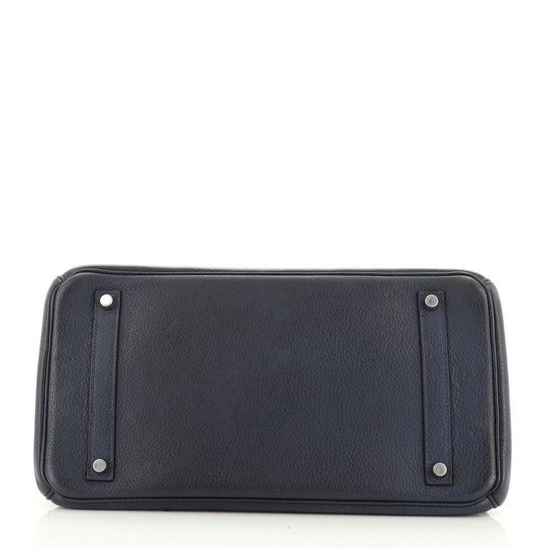 Women's or Men's Hermes Birkin Handbag Bleu de Malte Clemence with Palladium Hardware 35 For Sale