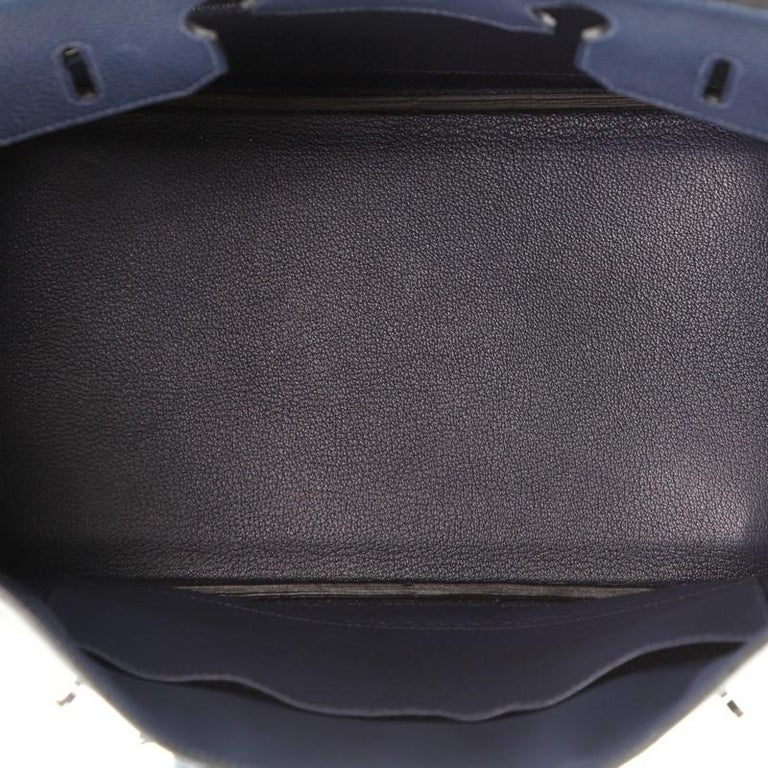 Hermes Birkin Handbag Bleu de Malte Clemence with Palladium Hardware 35 For Sale 1