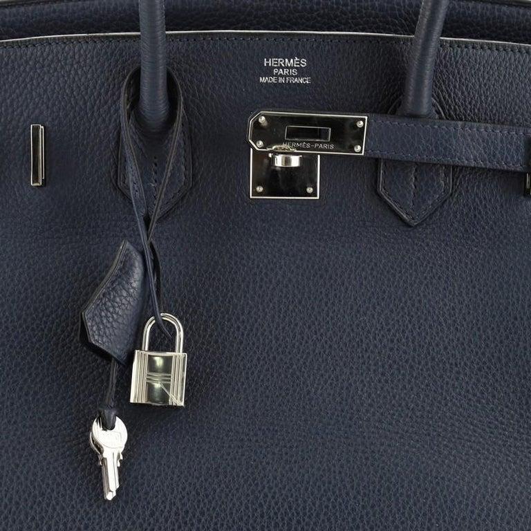 Hermes Birkin Handbag Bleu de Malte Clemence with Palladium Hardware 35 For Sale 2