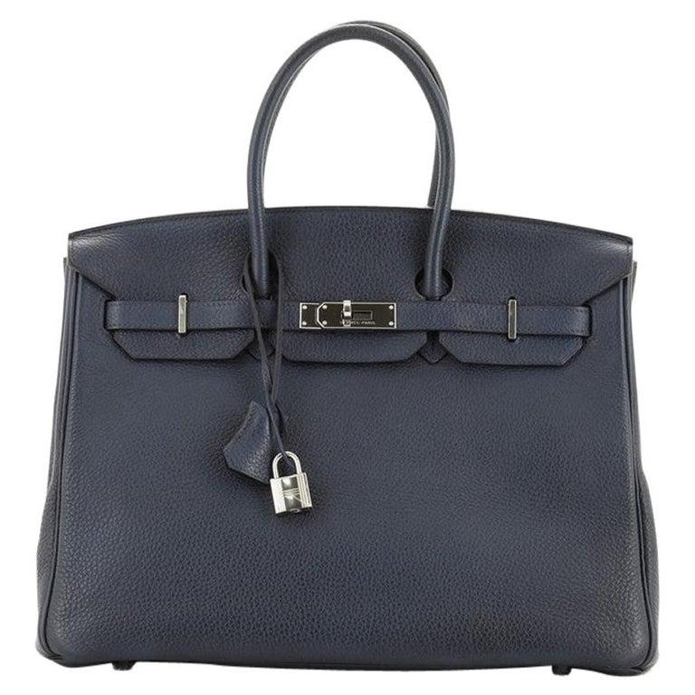 Hermes Birkin Handbag Bleu de Malte Clemence with Palladium Hardware 35 For Sale
