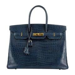 Hermes Birkin Handbag Bleu de Malte Shiny Porosus Crocodile wth Gold Hardware 35