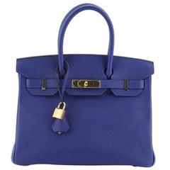 Hermes Birkin Handbag Bleu Electrique Epsom with Gold Hardware 30