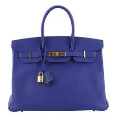 Hermes Birkin Handbag Bleu Electrique Epsom with Gold Hardware 35
