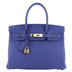 Hermes Birkin Handbag Bleu Electrique Togo with Gold Hardware 30