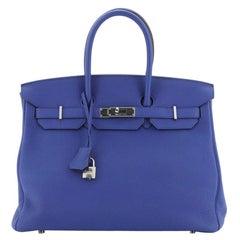 Hermes Birkin Handbag Bleu Electrique Togo with Palladium Hardware 35