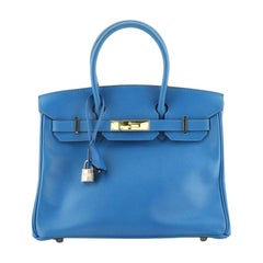 Hermes Birkin Handbag Bleu France Courchevel with Gold Hardware 30