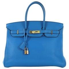 Hermes Birkin Handbag Bleu Hydra Clemence with Gold Hardware 35