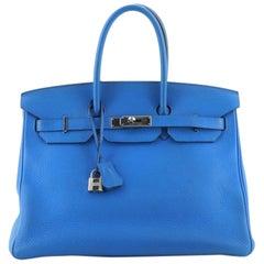 Hermes Birkin Handbag Bleu Hydra Clemence with Palladium Hardware 35