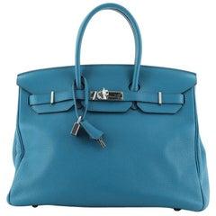 Hermes Birkin Handbag Bleu Izmir Clemence with Palladium Hardware 35