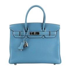Hermes Birkin Handbag Bleu Jean Clemence with Palladium Hardware 30