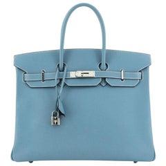 Hermes Birkin Handbag Bleu Jean Epsom With Palladium Hardware 35