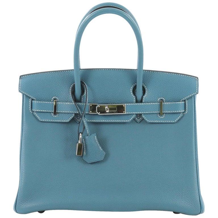 f6de26d3f1fc Hermes Birkin Handbag Bleu Jean Togo with Palladium Hardware 30 For Sale