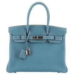 Hermes Birkin Handbag Bleu Jean Togo with Palladium Hardware 30
