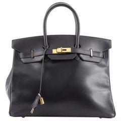Hermes Birkin Handbag Bleu Marine Box Calf with Gold Hardware 35
