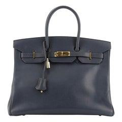 Hermes Birkin Handbag Bleu Marine Courchevel With Gold Hardware 35