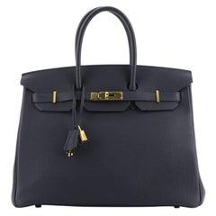 Hermes Birkin Handbag Bleu Nuit Togo with Gold Hardware 35