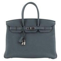 Hermes Birkin Handbag Bleu Orage Togo With Palladium Hardware 35