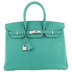 Hermes Birkin Handbag Bleu Paon Epsom with Palladium Hardware 35
