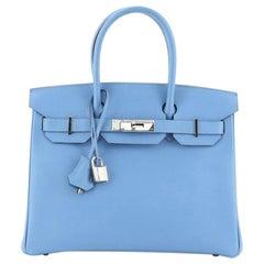 Hermes Birkin Handbag Bleu Paradis Epsom with Palladium Hardware 30