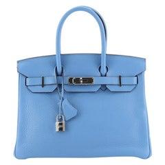 Hermes Birkin Handbag Bleu Paradis Togo With Palladium Hardware 30