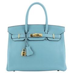 Hermes Birkin Handbag Bleu Saint-Cyr Clemence with Gold Hardware 30