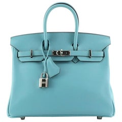 Hermes Birkin Handbag Bleu Saint-Cyr Swift with Palladium Hardware 25