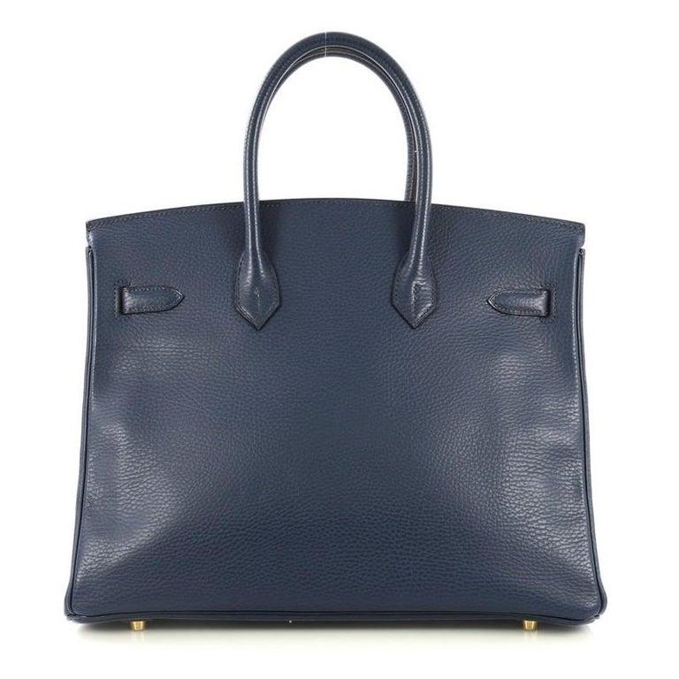 Black Hermes Birkin Handbag Bleu Saphir Ardennes with Gold Hardware 35 For Sale