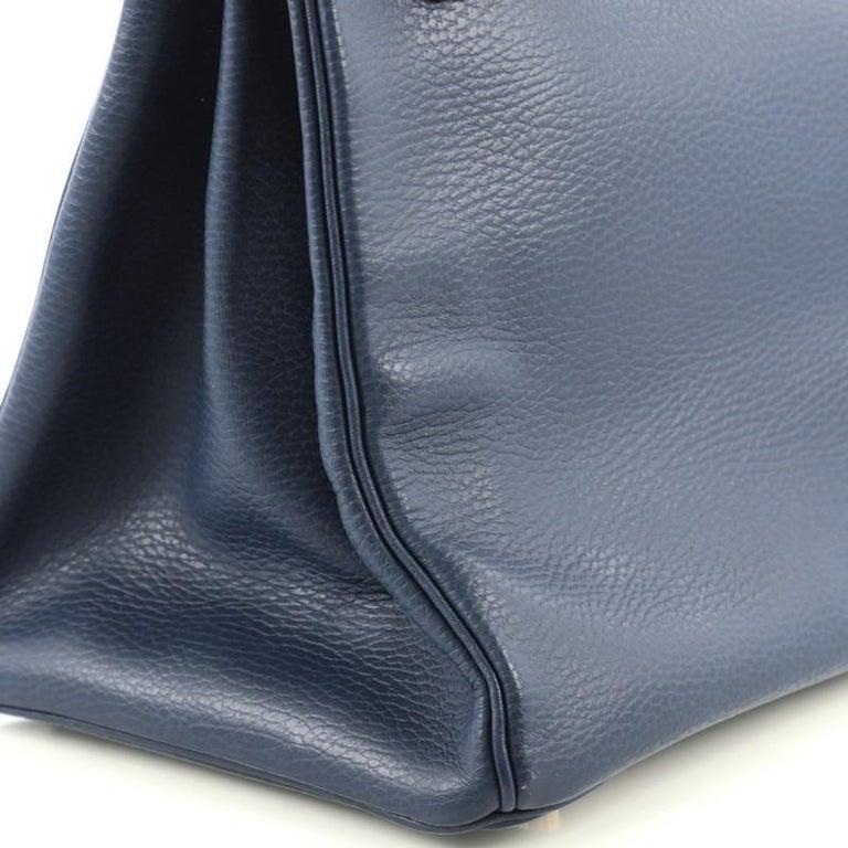 Hermes Birkin Handbag Bleu Saphir Ardennes with Gold Hardware 35 For Sale 1