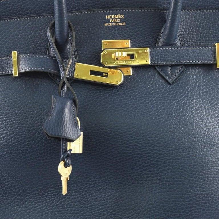 Hermes Birkin Handbag Bleu Saphir Ardennes with Gold Hardware 35 For Sale 2