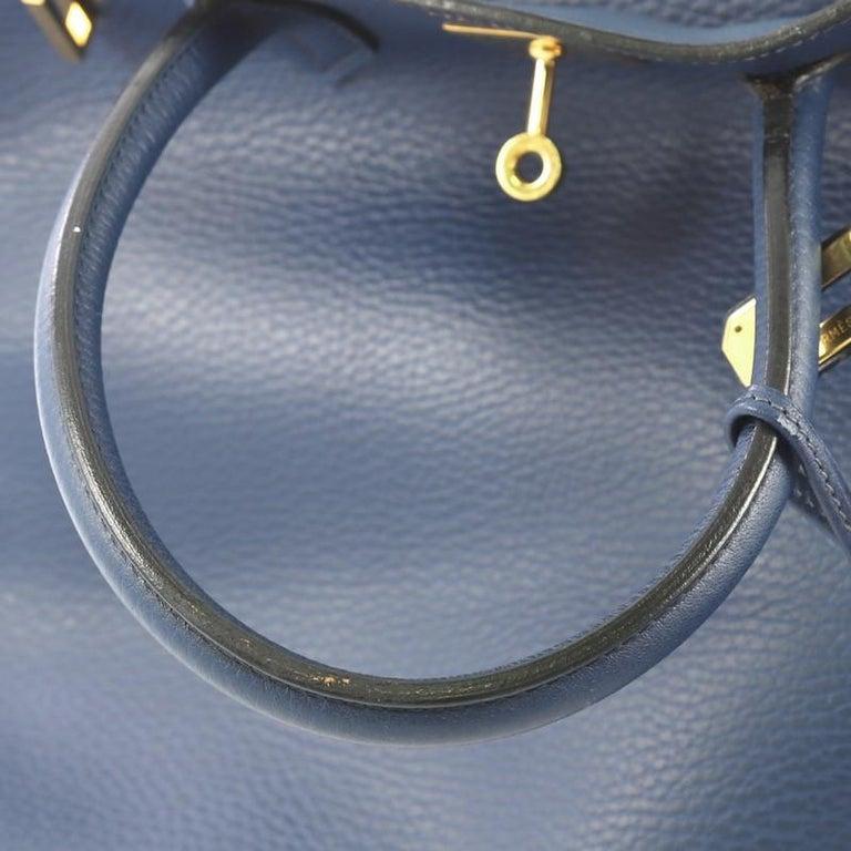 Hermes Birkin Handbag Bleu Saphir Ardennes with Gold Hardware 35 For Sale 3
