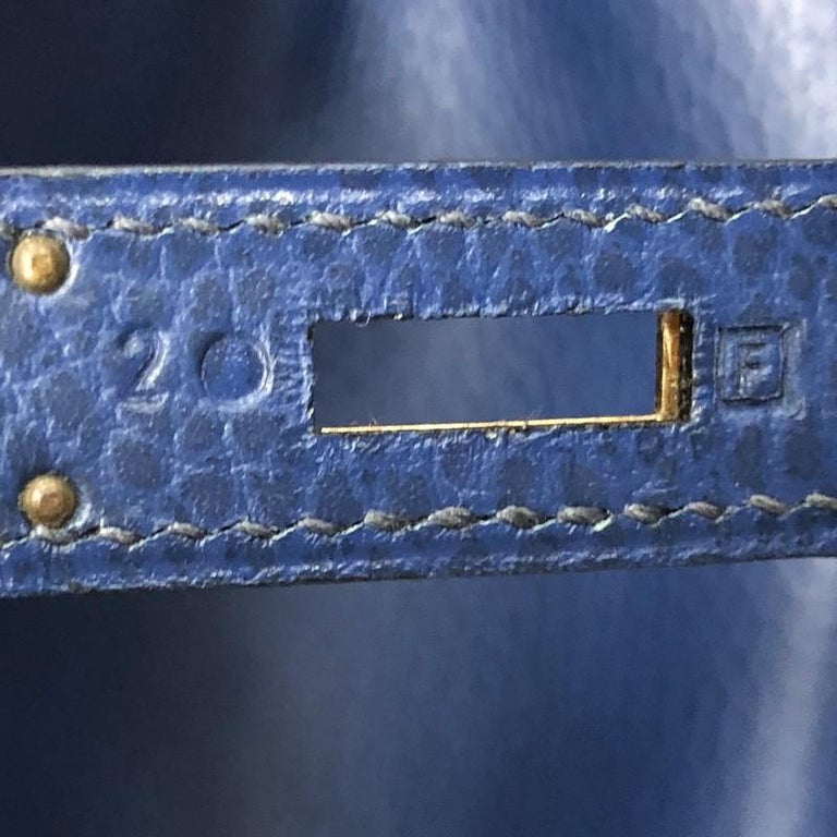 Hermes Birkin Handbag Bleu Saphir Ardennes with Gold Hardware 35 For Sale 4