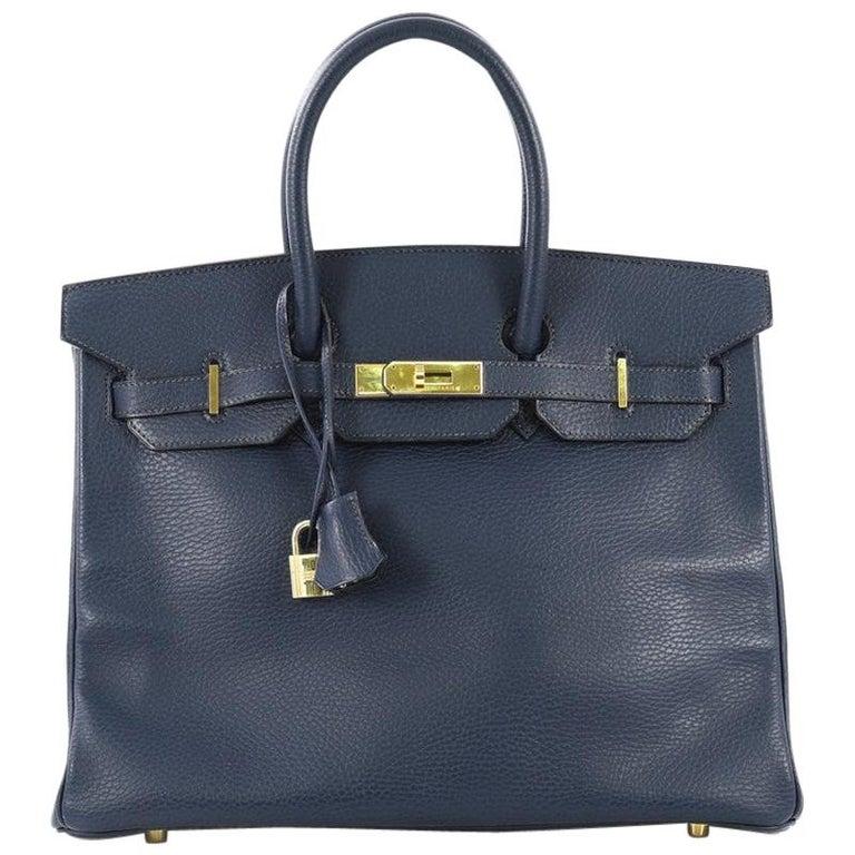 Hermes Birkin Handbag Bleu Saphir Ardennes with Gold Hardware 35 For Sale