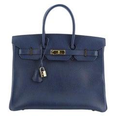 Hermes Birkin Handbag Bleu Saphir Ardennes with Gold Hardware 35