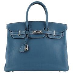 Hermes Birkin Handbag Bleu Thalassa Clemence with Palladium Hardware 35
