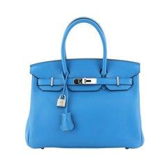Hermes Birkin Handbag Bleu Zanzibar Clemence with Palladium Hardware 30
