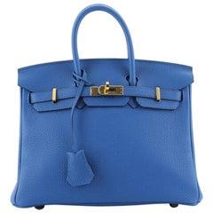 Hermes Birkin Handbag Bleu Zellige Clemence with Gold Hardware 25