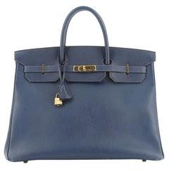 Hermes Birkin Handbag Blue Ardennes with Gold Hardware 40