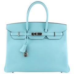 Hermes Birkin Handbag Blue Atoll Epsom with Palladium Hardware 35