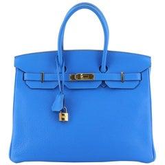 Hermes Birkin Handbag Blue Clemence With Gold Hardware 35