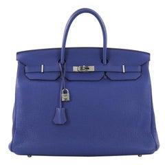 Hermes Birkin Handbag Blue Electric Togo With Palladium Hardware 40